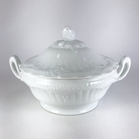 Vintage Round French Limoges White Porcelain Tureen or Covered Dish