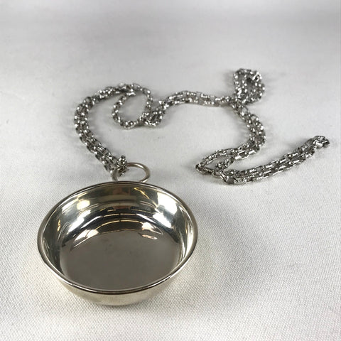 Porter Blanchard Sterling Silver Wine Taster with Metal Chain