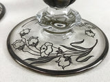 Vintage Pair Round Candle Holders With Floral Pattern Silver & Clear Glass