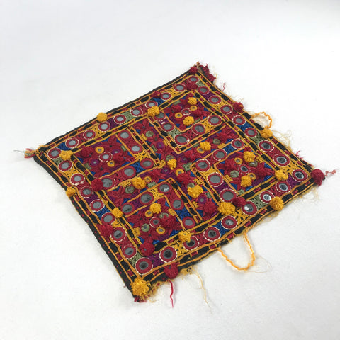 "1970's Embroidered Indian Tapestry 9"" Square with Mirrors & Knotted Tassels"