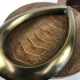 French R & Y Augousti Snakeskin Brass And Wood Round Box
