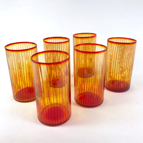 Vibrant Blenko Striped Amberina Glass Tumblers - Set of 6
