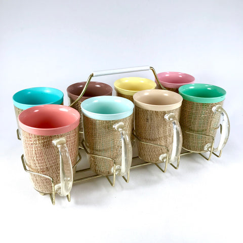 1960s Multi-Color Raffiaware Cups With Metal Serving Tray - Set of 8