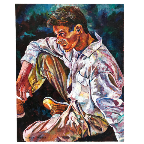 "Oil on Canvas Portrait ""Shirt Pocket"" by Batya Dagan"