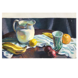 Oil on Board Still Life Study Pitcher & Fruit on Table