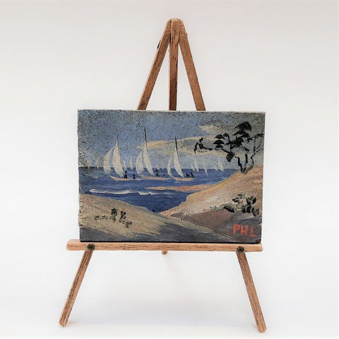 Vintage Miniature Oil Painting On Easel Cape Cod Sand Dune Sailboats Signed