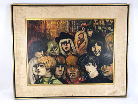Vintage Signed Painting 1960's Hip Club Crowd