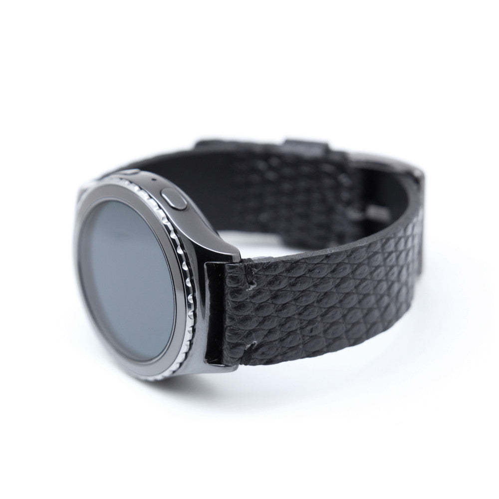 D3 Italian Lizard Leather Strap for Gear S2 Black