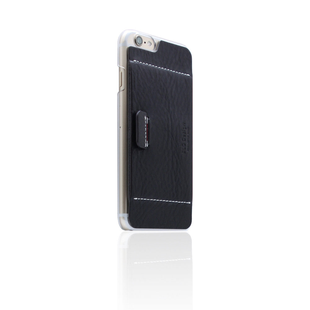 D6 Italian Minerva Box Leather Card Pocket for iPhone 6/6s Black