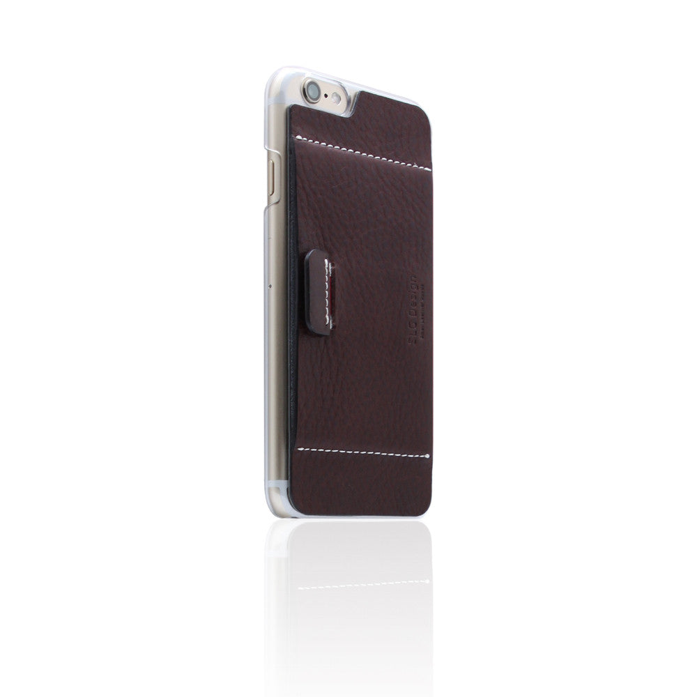 D6 Italian Minerva Box Leather Card Pocket for iPhone 6/6s Brown