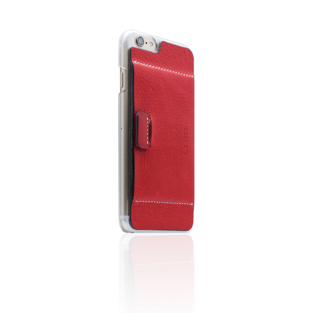 D6 Italian Minerva Box Leather Card Pocket for iPhone 6/6s Red