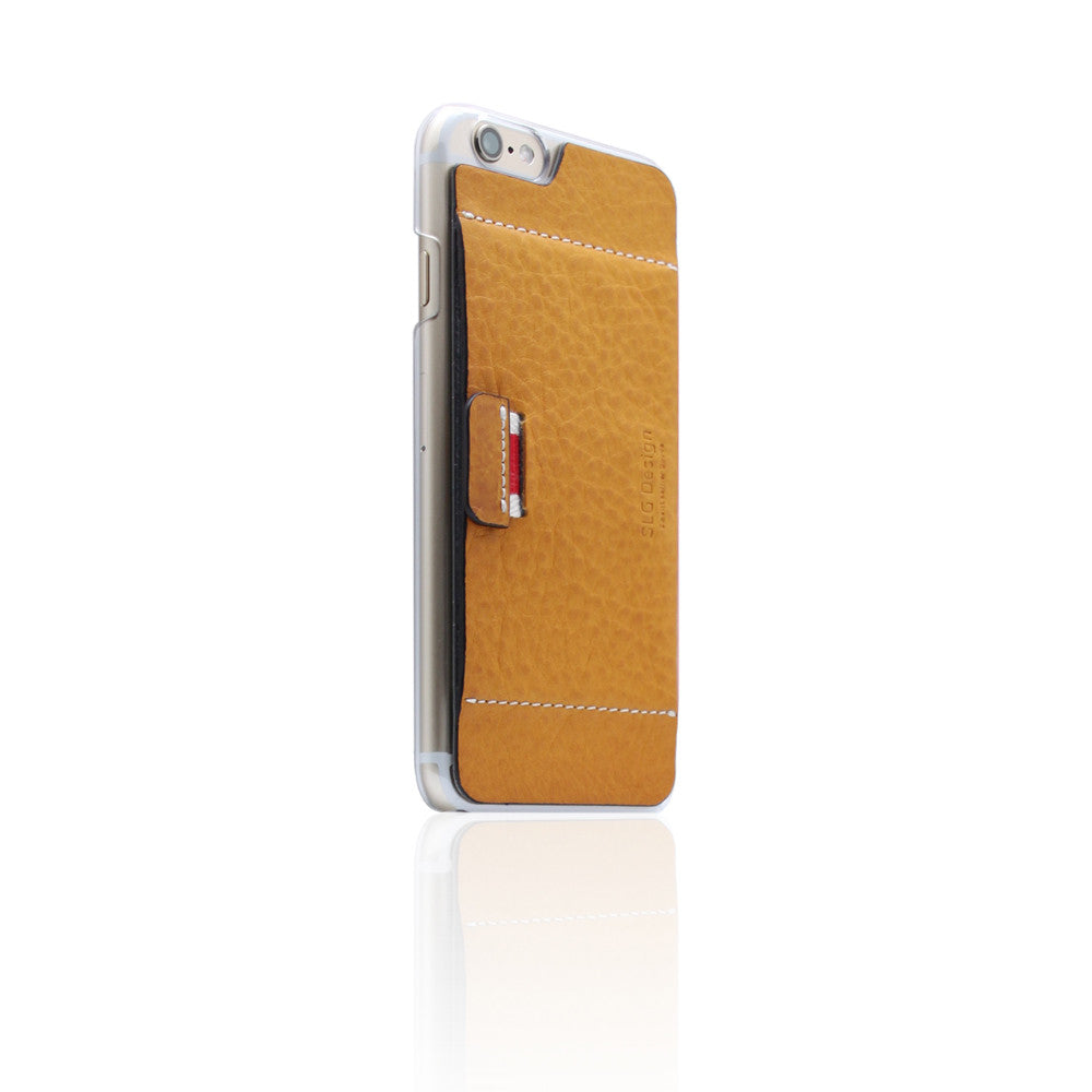 D6 Italian Minerva Box Leather Card Pocket for iPhone 6/6s Tan