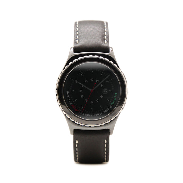 D6 Italian Minerva Box Leather Strap for Gear S2 Black