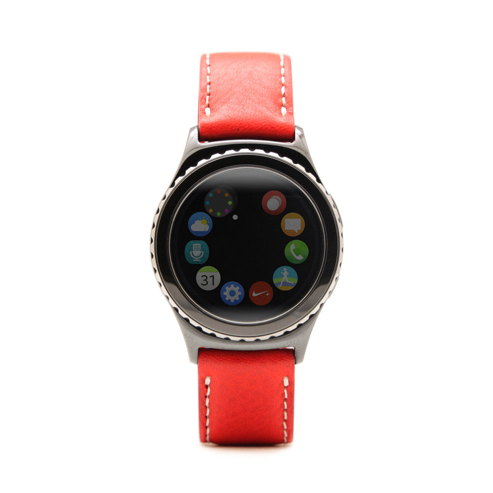 D6 Italian Minerva Box Leather Strap for Gear S2 Red