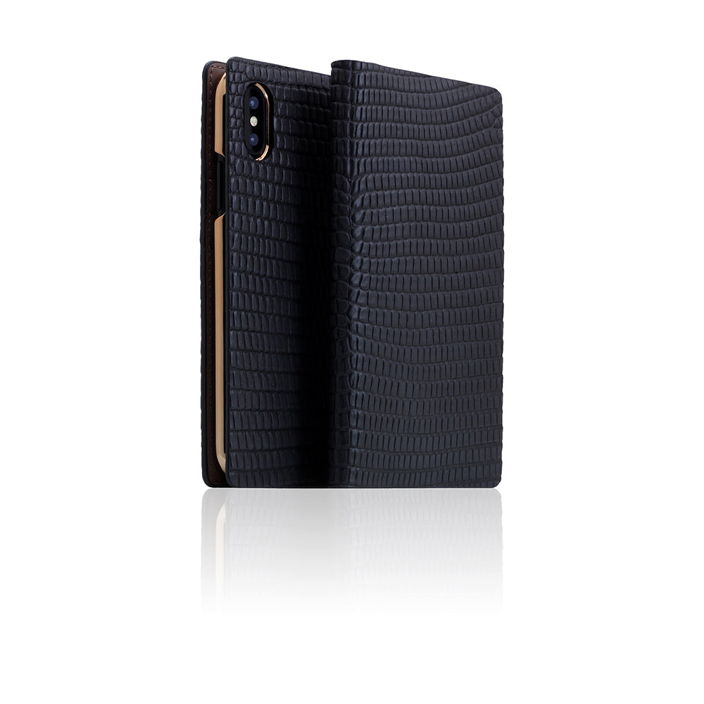 D3 Italian Lizard Leather Case for iPhone X / XS Black