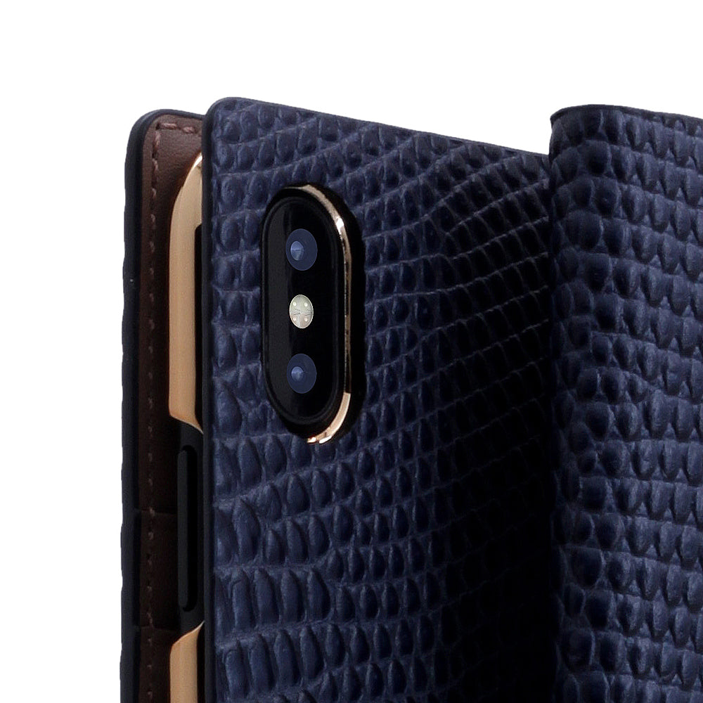 D3 Italian Lizard Leather Case for iPhone X Blue
