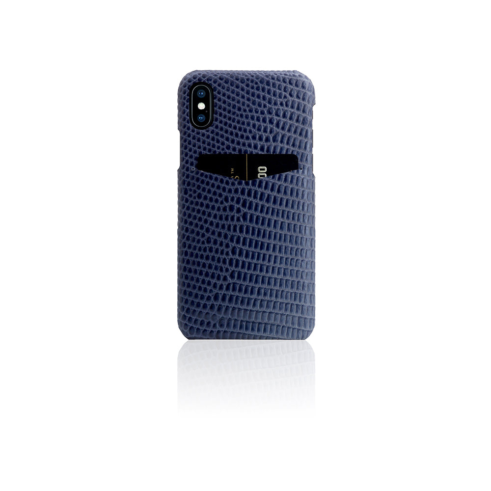 D3 Italian Lizard Leather Back Case for iPhone X Blue