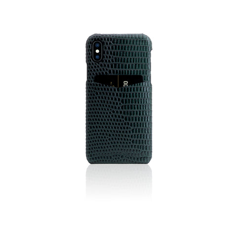 D3 Italian Lizard Leather Back Case for iPhone X Green