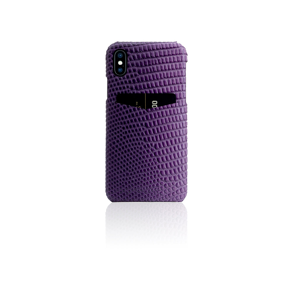 D3 Italian Lizard Leather Back Case for iPhone X / XS Purple