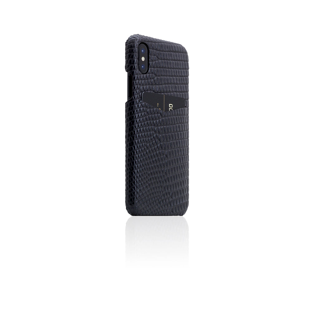 D3 Italian Lizard Leather Back Case for iPhone X / XS Black