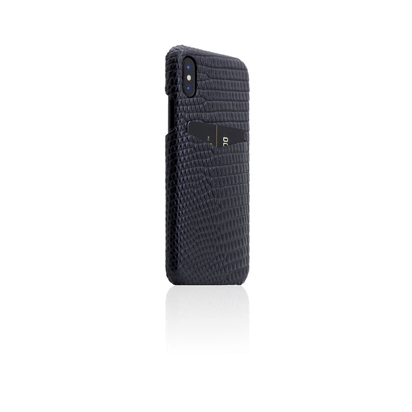 D3 Italian Lizard Leather Back Case for iPhone X Black