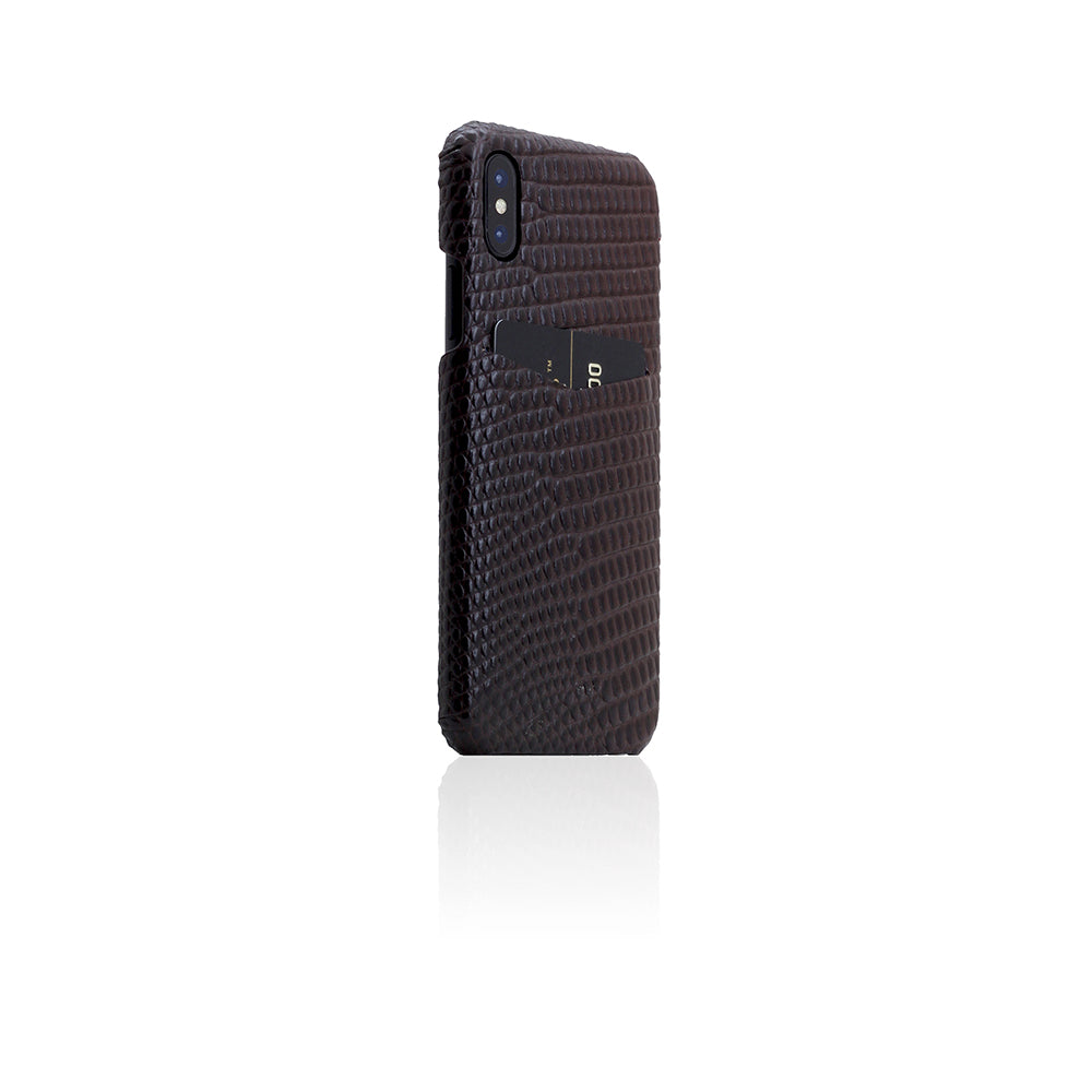 D3 Italian Lizard Leather Back Case for iPhone X Brown