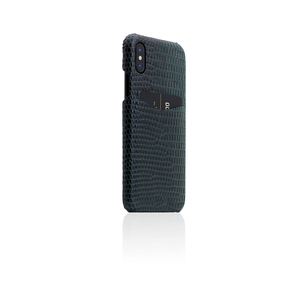 D3 Italian Lizard Leather Back Case for iPhone X / XS Green