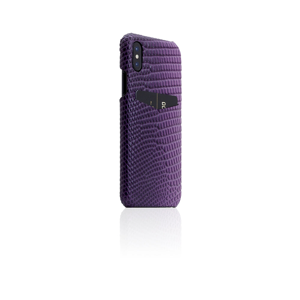 D3 Italian Lizard Leather Back Case for iPhone X Purple