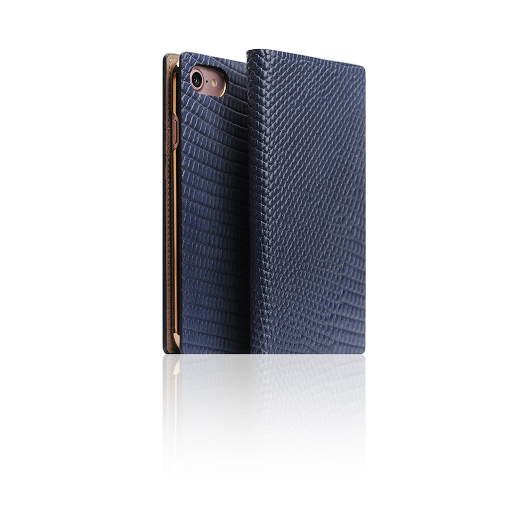 D3 Italian Lizard Leather Case for iPhone 7 Blue