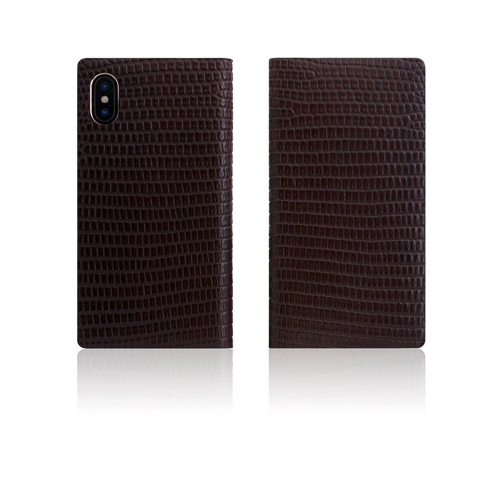 D3 Italian Lizard Leather Case for iPhone X / XS Brown