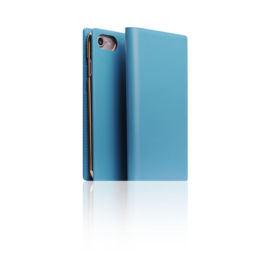 D5 Calf Skin Leather Case for iPhone 8 / 7 Blue