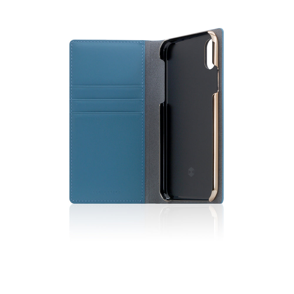D5 Calf Skin Leather Case for iPhone X Blue