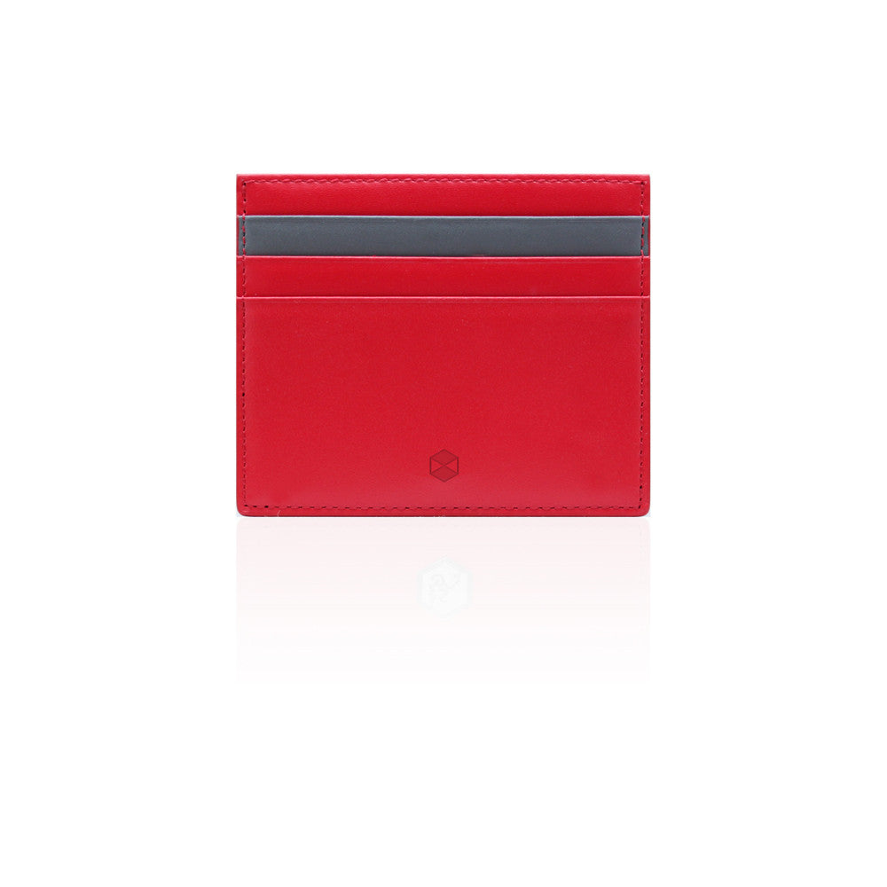 D5 Calf Skin Leather Card Wallet Red