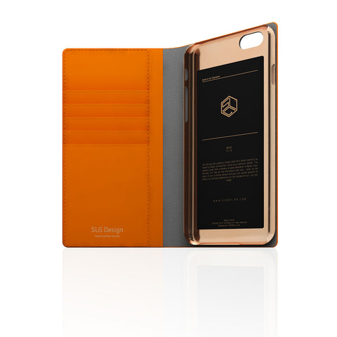 D5 Calf Skin Leather Case for iPhone 6/6s Plus Orange