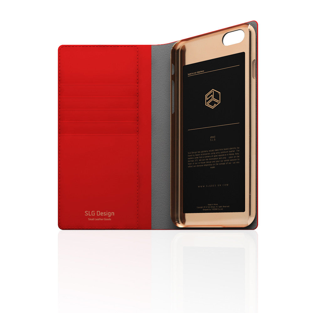 D5 Calf Skin Leather Case for iPhone 6 / 6s Plus Red