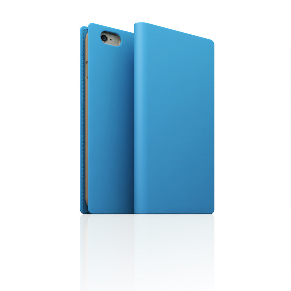 D5 Calf Skin Leather Case for iPhone 6 / 6s Plus Sky Blue