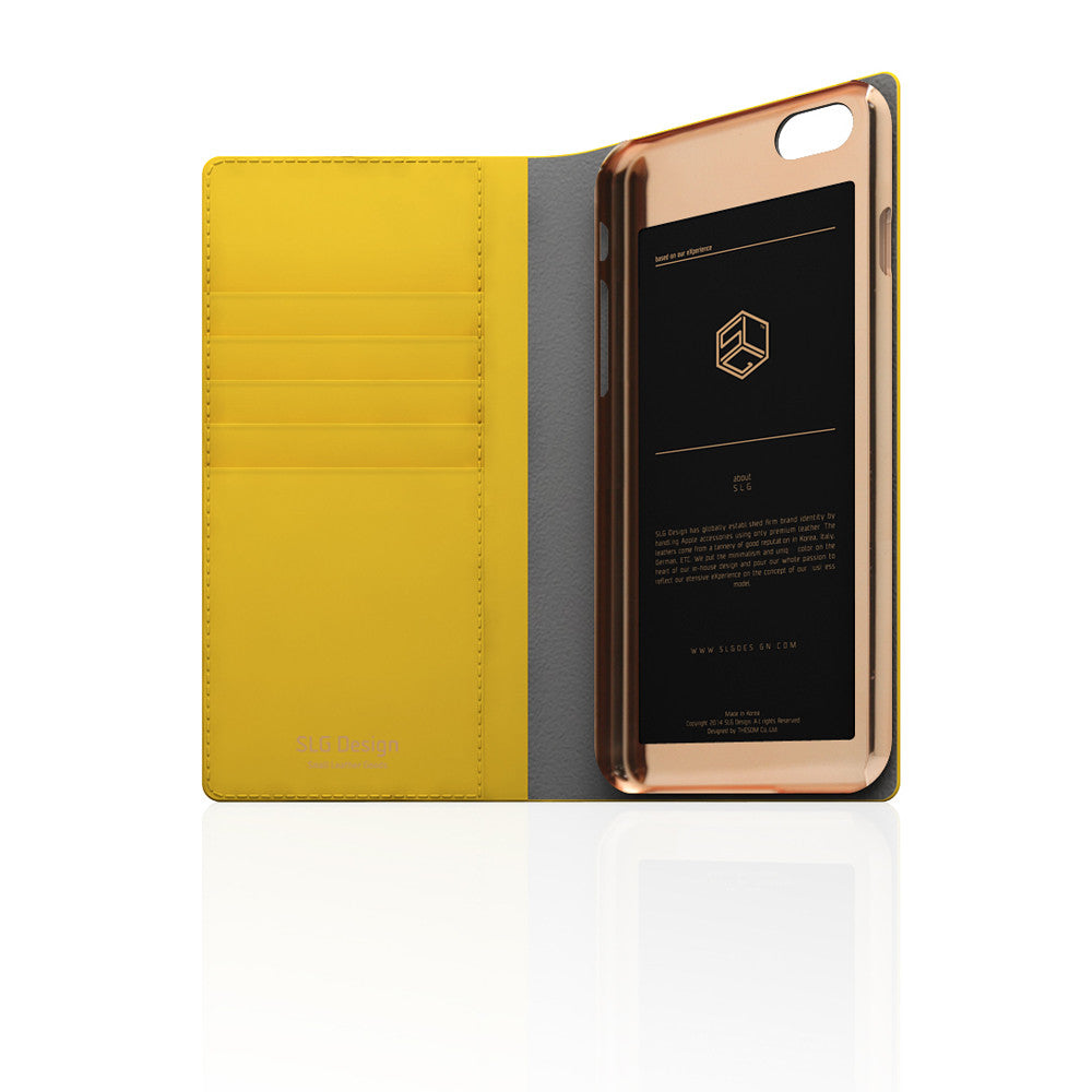 D5 Calf Skin Leather Case for iPhone 6 / 6s Plus Yellow