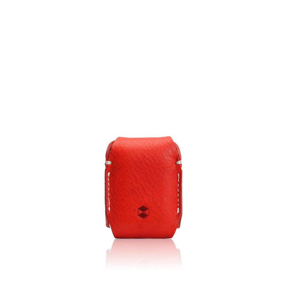 D6 Italian Minerva Box Leather AirPods Pouch Red