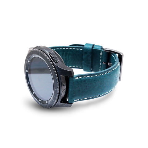 D6 Italian Minerva Box Leather Strap for Gear S3 Blue