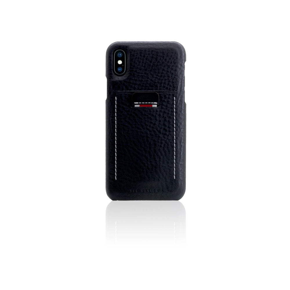 D6 Italian Minerva Box Leather Back Case for iPhone X / XS Black