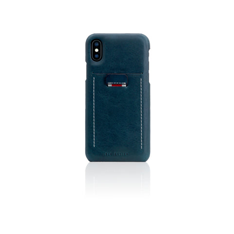 D6 Italian Minerva Box Leather Back Case for iPhone X Blue