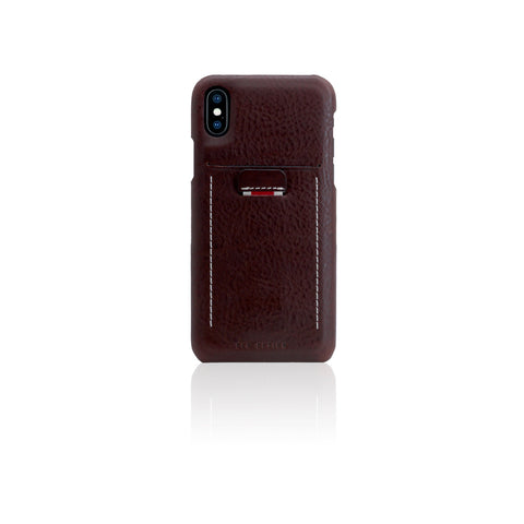 D6 Italian Minerva Box Leather Back Case for iPhone X Brown