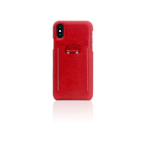 D6 Italian Minerva Box Leather Back Case for iPhone X Red