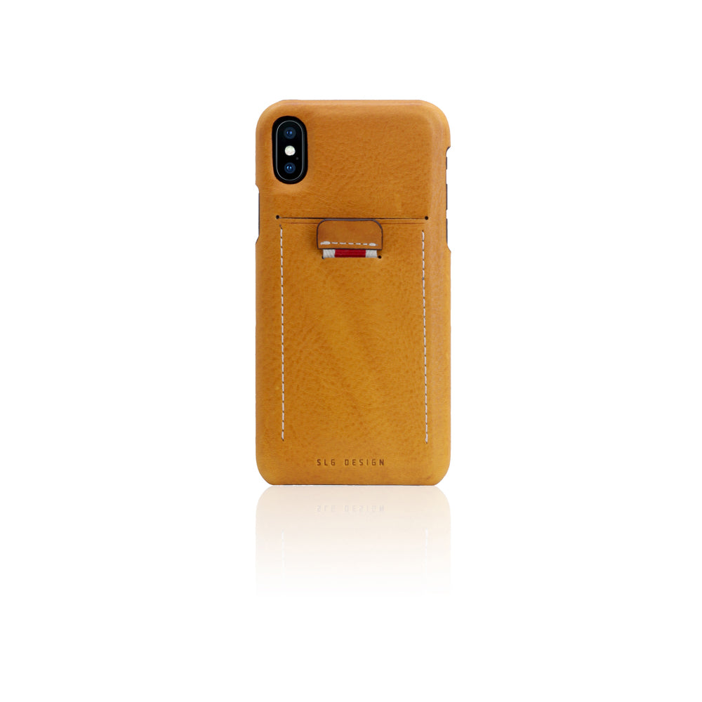 D6 Italian Minerva Box Leather Back Case for iPhone X / XS Tan
