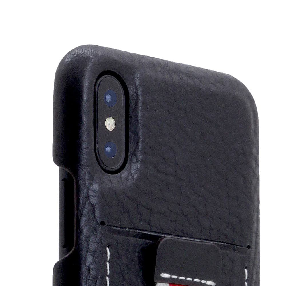 D6 Italian Minerva Box Leather Back Case for iPhone X Black