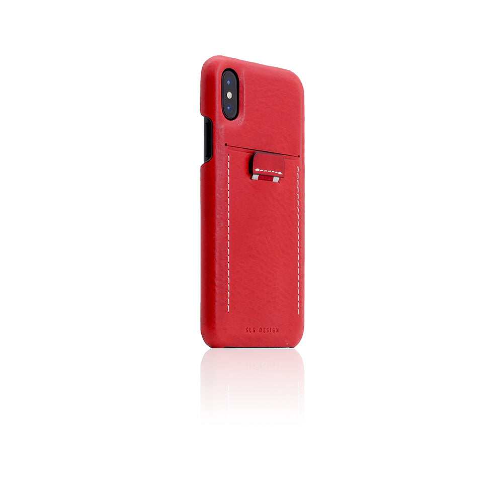 D6 Italian Minerva Box Leather Back Case for iPhone X / XS Red