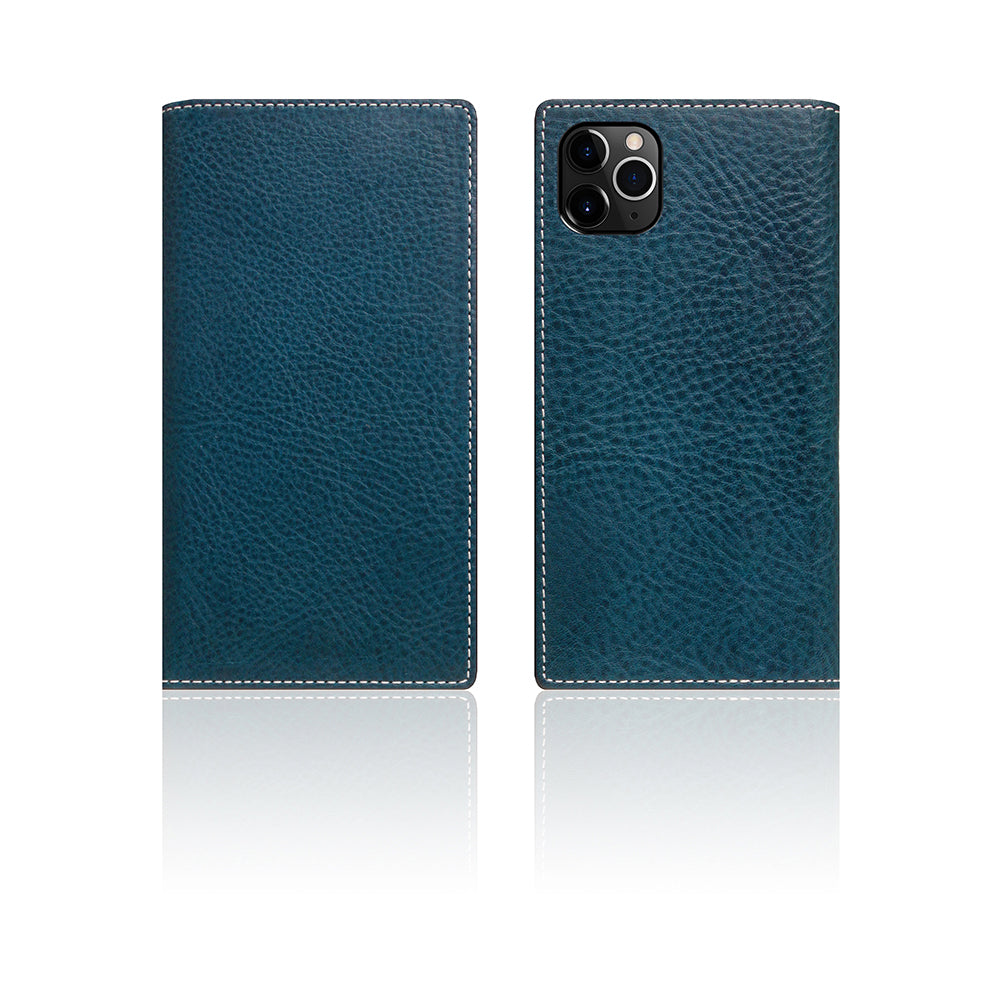 D6 Italian Minerva Box Leather Case for iPhone 11 Pro Blue