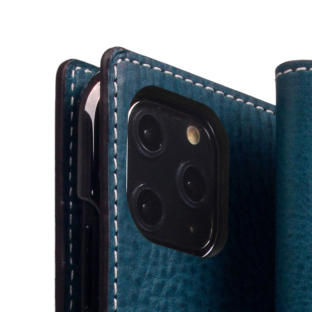 D6 Italian Minerva Box Leather Case for iPhone 11 Pro Max Blue