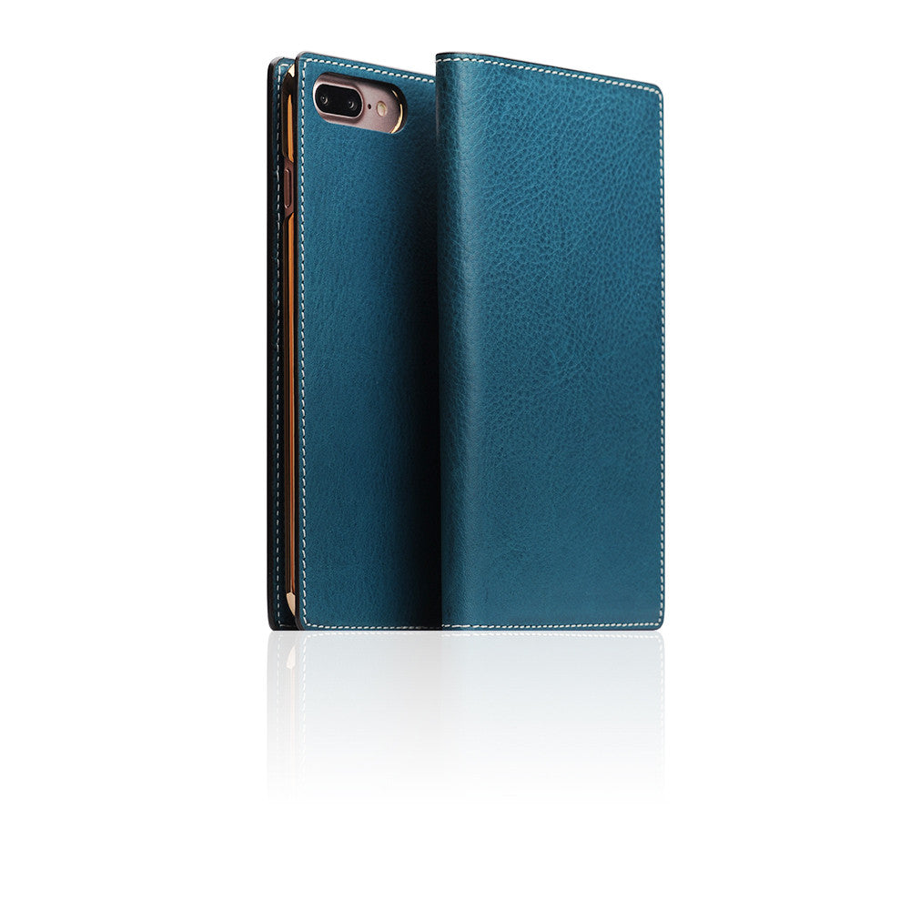 D6 Italian Minerva Box Leather Case for iPhone 8 Plus / 7 Plus Blue
