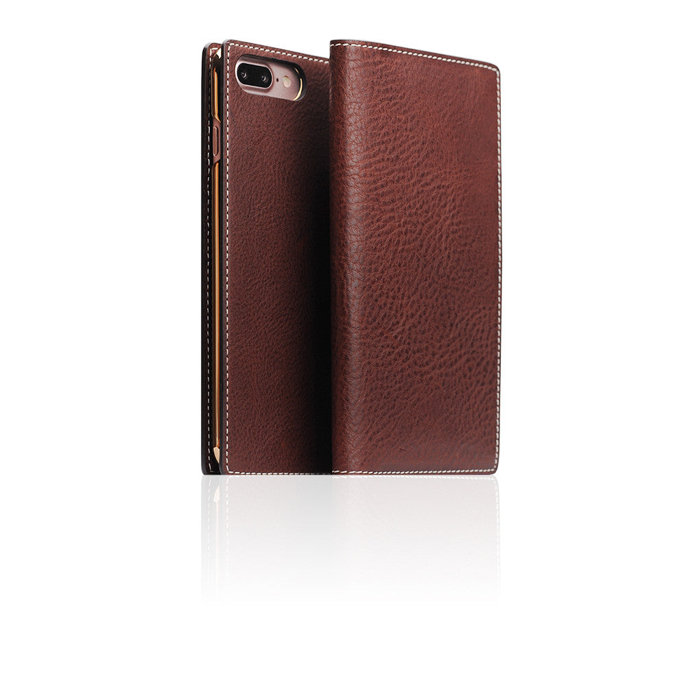 D6 Italian Minerva Box Leather Case for iPhone 8 Plus / 7 Plus Brown